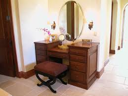 Small Vanity Table For Bedroom Brown Wooden Dressing Table With Drawer Combined By Black Stool