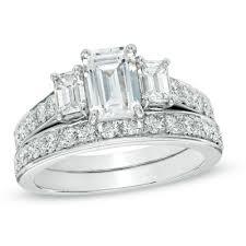 emerald cut wedding set three emerald cut engagement rings 11642