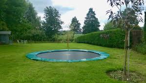 in ground trampoline installation fully installed sunken trampolines