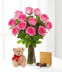 Vase With Roses Dozen Pink Roses With Teddy Bear And Chocolates