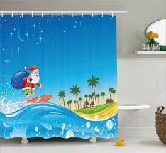 Beach Bathroom Decor by Christmas Shower Curtain Surfing Santa Beach Bathroom Decor