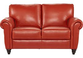 Leather Loveseats Cindy Crawford Home Lusso Papaya Leather Loveseat Leather