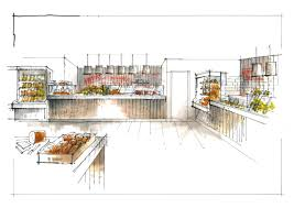 interior sketches retail food server counter sketch