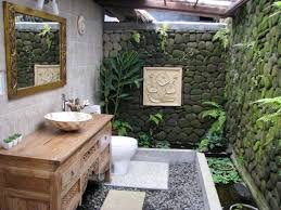 charming small outdoor bathroom ideas with neutral stone wall and