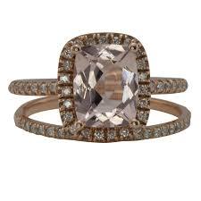 morganite bridal set cushion cut morganite bridal set gold morganite wedding set