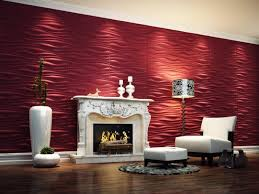 Decorative Home Interiors by Contemporary 3d Wallpaper In Lounge Space With Red Color Paint In