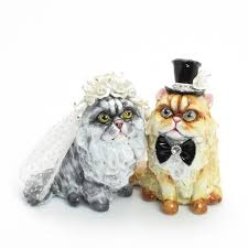 cat wedding cake topper cat wedding cake toppers 00001 clay sculpted figurine