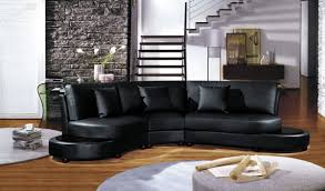 Modern Black Sofa Set Furniture Black Leather Sectional Sofa With Round Chaise And
