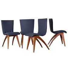 Set Of Teak Dining Table Set Of Four Van Os Curved Teak Dining Chairs In Navy At 1stdibs