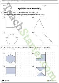 geometry worksheets properties of shapes year 4 teaching