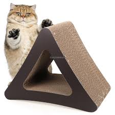 modern scratching post cardboard triangle cat scratcher 3 sided kitten playing board