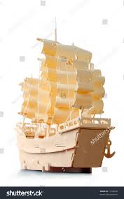 Wooden Nautical Flags Homemade Wooden Ship Paper Sails Flag Stock Photo 71108356