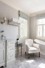 Bathroom Accent Table Gray Bathroom With Blue Linen Roman Shades Transitional Bathroom