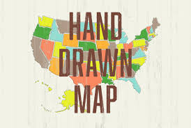 Image Of United States Map by Hand Drawn Us Map Illustrations Creative Market