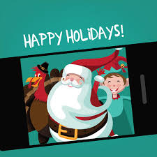 santa thanksgiving turkey and take a selfie stock