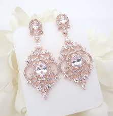 Chandelier Earrings Bridal Rose Gold Bridal Earrings Rose Gold Chandelier Earrings Wedding