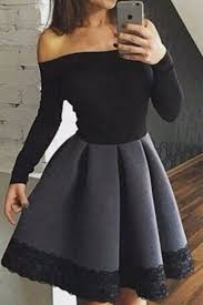 black cotton long sleeves off shoulder a line simple cheap short