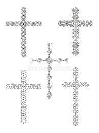 set of religious cross designs stock vector illustration of