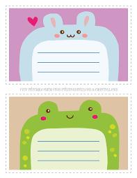 cute printable animal notecards for kids rabbit u0026 frog coloring