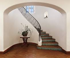 curved staircase design mediterranean with spanish colonial