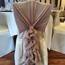 ruffled chair covers pink dusky pink chiffon ruffle hoods with