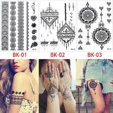 black flower lace fake bracelet chain diy jewelry temporary tattoo