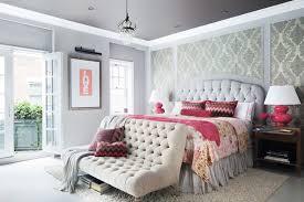 Gray Wallpaper Bedroom - gray flocked wallpaper transitional bedroom rob stuart interiors