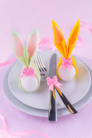 easter napkins easter table set with eggs in bunny napkins stock image image of