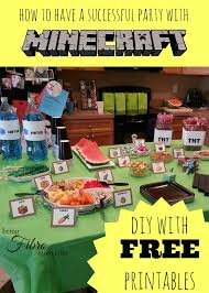 minecraft birthday party printables decorations and food