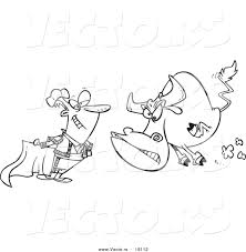 vector of a cartoon bull charging a matador outlined coloring