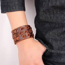 leather bracelet wristband images Men wide leather bracelet brown wide cuff bracelets bangles jpg
