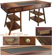 bureau bois bureau bois marine laiton et cuir mf012
