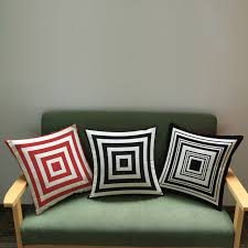 coussins canap noir géométrie bande décoratif coton coussins pour canapé