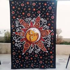 tapestry home decor sun moon wall hanging cotton tapestry home decor craft jaipur