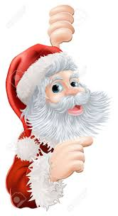 illustration of happy christmas santa claus peeping round and