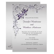 silver wedding invitations ornate purple swirls on silver wedding invitation zazzle