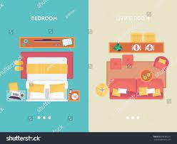 living room bedroom floor plan top stock vector 506285251