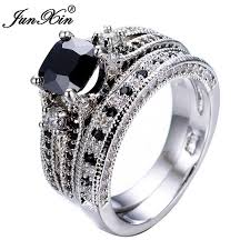 black sapphires rings images Online cheap junxin gorgeous black sapphire crystal ring set jpg