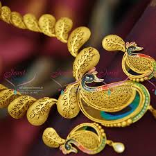 real gold necklace designs images Nl3683 one gram gold plated beautiful real look intricate peacock JPG
