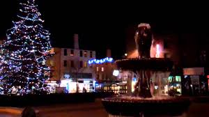 christmas tree lights and fountains city square dundee scotland
