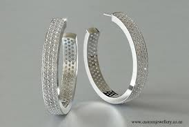 diamond earrings nz diamond pave hoop earrings 7ctw in white gold or platinum new zealand