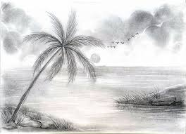 natural scene drawing hand sketch of natural scenery stock photo