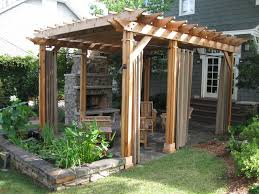 Pergola With Curtains Free Standing Pergola And Entertainment Space Traditional