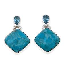 turquoise drop earrings king blue topaz and turquoise drop sterling silver earrings