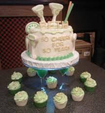 50th margarita theme birthday cake with sugar cookies ices with
