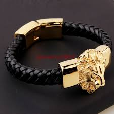 leather bracelet with gold images Men 39 s black genuine leather bracelet gold plate stainless steel jpg
