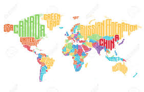 world map with country names world map made of typographic country names vector illustration
