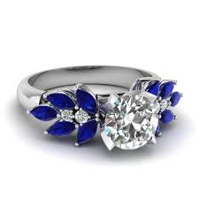 blue and white engagement rings cut nature inspired marquise ring with emerald in