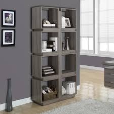 Open Bookshelf Room Divider Kayla Open Bookshelf In Dark Taupe Modern Office Furniture