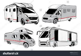 cars recreational vehicles camper vans caravans stock vector